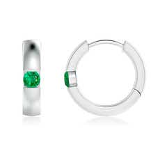 Channel-Set Round Emerald Hinged Hoop Earrings
