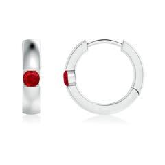 Channel-Set Round Ruby Hinged Hoop Earrings