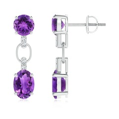 Round and Oval Amethyst Dangle Earrings with Diamond Accents