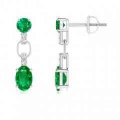 Round and Oval Emerald Dangle Earrings with Diamond Accents