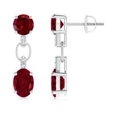Round and Oval Garnet Dangle Earrings with Diamond Accents