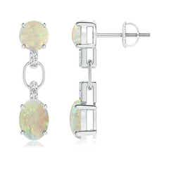 Round and Oval Opal Dangle Earrings with Diamond Accents