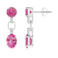 Round and Oval Pink Sapphire Dangle Earrings with Diamonds