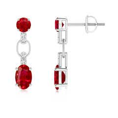 Round and Oval Ruby Dangle Earrings with Diamond Accents