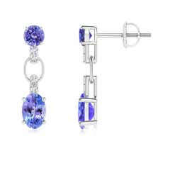 Round and Oval Tanzanite Dangle Earrings with Diamonds