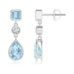 Emerald-Cut and Pear-Shaped Aquamarine Drop Earrings
