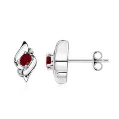 Oval Garnet and Diamond Shell Stud Earrings