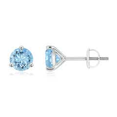 Martini-Set Round Aquamarine Stud Earrings