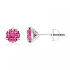 Martini-Set Round Pink Sapphire Stud Earrings