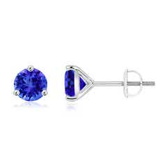 Martini-Set Round Tanzanite Stud Earrings