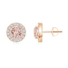 Morganite Stud Earrings with Bar-Set Diamond Halo