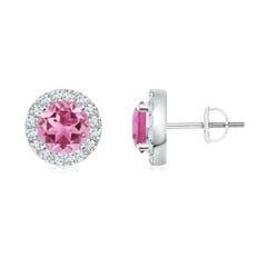 Bar Set Round Diamond Halo Pink Tourmaline Stud Earrings
