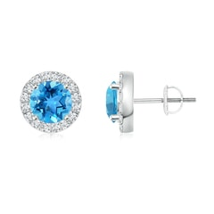 Bar Set Round Diamond Halo Swiss Blue Topaz Stud Earrings