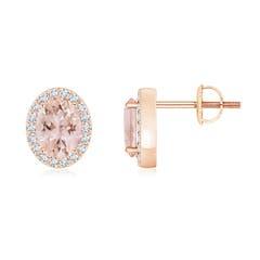 Prong Set Diamond Halo Oval Morganite Stud Earrings