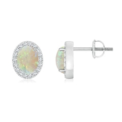Angara Oval Opal Shell Earrings in Rose Gold s01V6W4