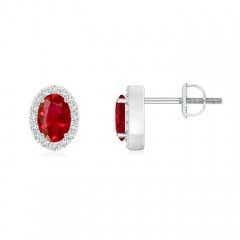 Oval Ruby Studs with Diamond Halo