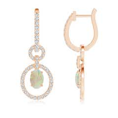 Floating Oval Opal Dangle Hoop Earrings with Diamonds
