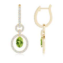 Floating Oval Peridot Dangle Hoop Earrings with Diamonds