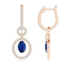 Floating Oval Sapphire Dangle Hoop Earrings with Diamonds