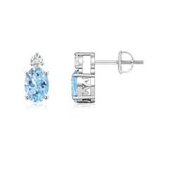 Basket-Set Oval Aquamarine Stud Earrings with Diamond