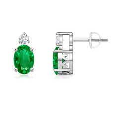 Basket-Set Oval Emerald Stud Earrings with Diamond