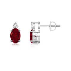 Basket-Set Oval Garnet Stud Earrings with Diamond