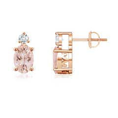 Basket-Set Oval Morganite Stud Earrings with Diamond