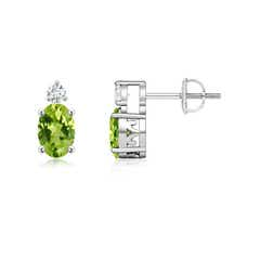 Basket-Set Oval Peridot Stud Earrings with Diamond
