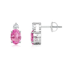 Basket-Set Oval Pink Sapphire Stud Earrings with Diamond