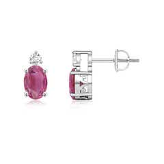 Basket-Set Oval Pink Tourmaline Stud Earrings with Diamond