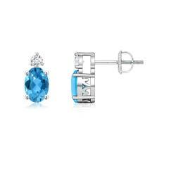 Basket-Set Oval Swiss Blue Topaz Stud Earrings with Diamond