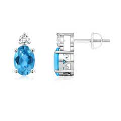 Basket-Set Oval Swiss Blue Topaz Stud Earrings with Diamond