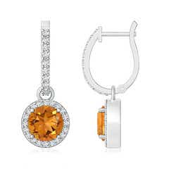 Round Citrine Dangle Earrings with Diamond Halo