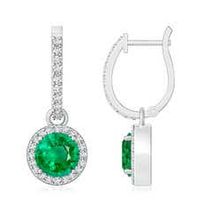 Round Emerald Dangle Earrings with Diamond Halo