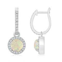Round Opal Dangle Earrings with Diamond Halo