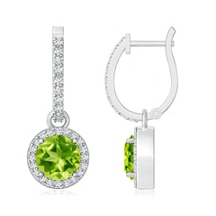 Round Peridot Dangle Earrings with Diamond Halo