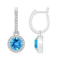 Round Swiss Blue Topaz Dangle Earrings with Diamond Halo