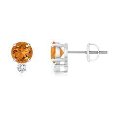 Basket-Set Round Citrine Stud Earrings with Diamond