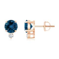 Basket-Set Round London Blue Topaz Stud Earrings