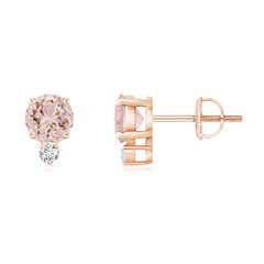 Basket-Set Round Morganite Stud Earrings with Diamond