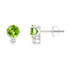 Basket-Set Round Peridot Stud Earrings with Diamond