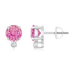 Basket-Set Round Pink Sapphire Stud Earrings with Diamond