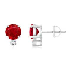 Basket-Set Round Ruby Stud Earrings with Diamond