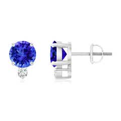Basket-Set Round Tanzanite Stud Earrings with Diamond