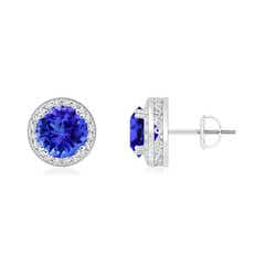 Round Tanzanite Stud Earrings with Diamond Halo