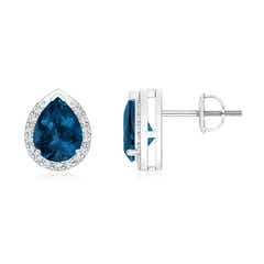 Pear-Shaped London Blue Topaz Stud Earrings with Diamonds