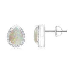 Pear-Shaped Opal Stud Earrings with Diamond Halo