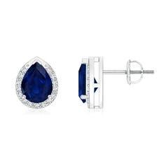 Pear-Shaped Blue Sapphire Stud Earrings with Diamond Halo