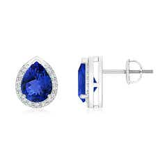 Pear-Shaped Tanzanite Stud Earrings with Diamond Halo