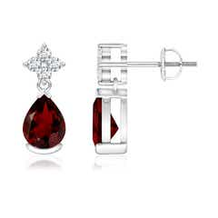 Pear-Shaped Garnet Drop Earrings with Diamonds